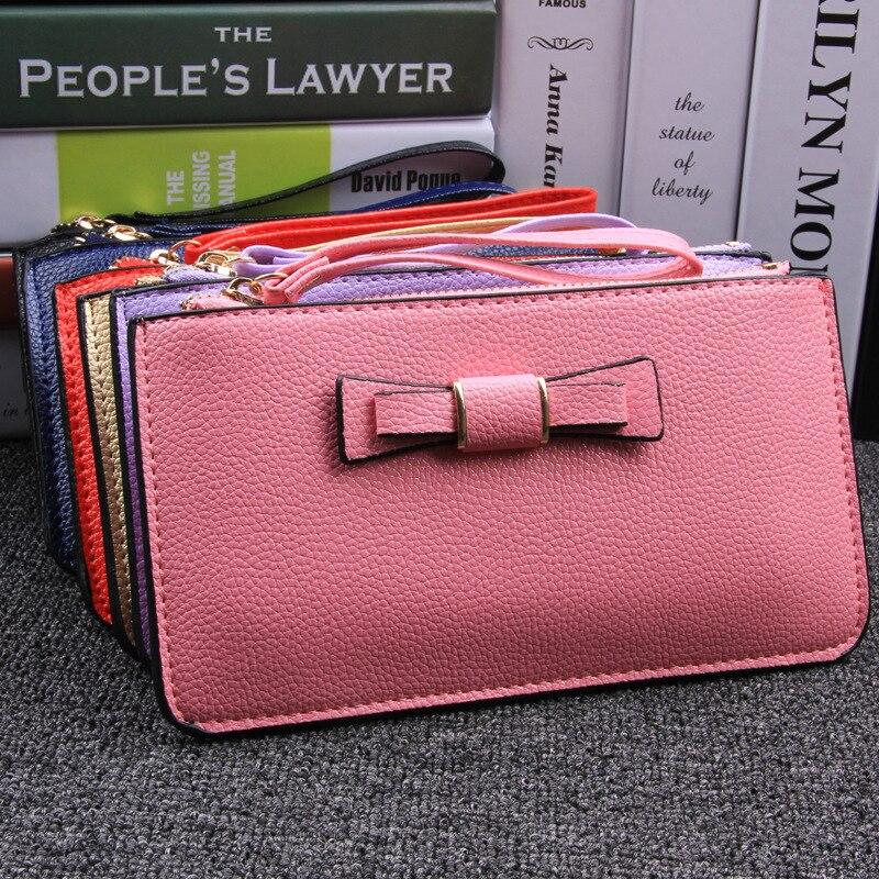 New Korean Ladies Purse Wallet long bow bag fashion female hand coin Purse women cheap and high quality