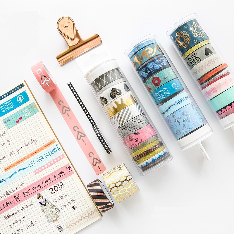 7-10 Rolls/Set Basic Series Washi Tape DIY Dot Heart Decoration Scrapbooking Planner Masking Tape Adhesive Kawaii Stationery 10 rolls pack pastel washi tape diy decoration scrapbooking planner masking tape adhesive kawaii stationery