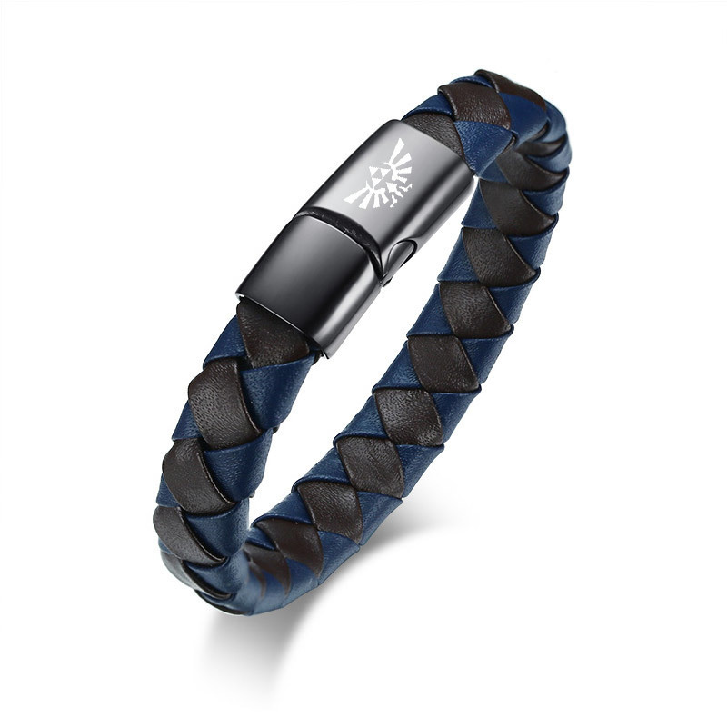 Blue and Black Woven Mens Leather Bracelet with Magnetic Buckle Engraved Legend of Zelda Symbol Braided Braslet Bangle Jewelry