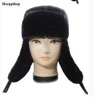 Winter Hat Men fauxLeather Snow Leifeng Hats Russian Male good quality faux fur warm Fur Hat fur with solid Ears genuine Cap