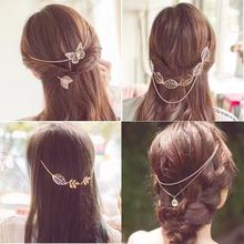 Korea Hot Sale Women Bow Butterfly And Leaf Of Flower Back Type Dish Hair Comb Head Hoop Accessories