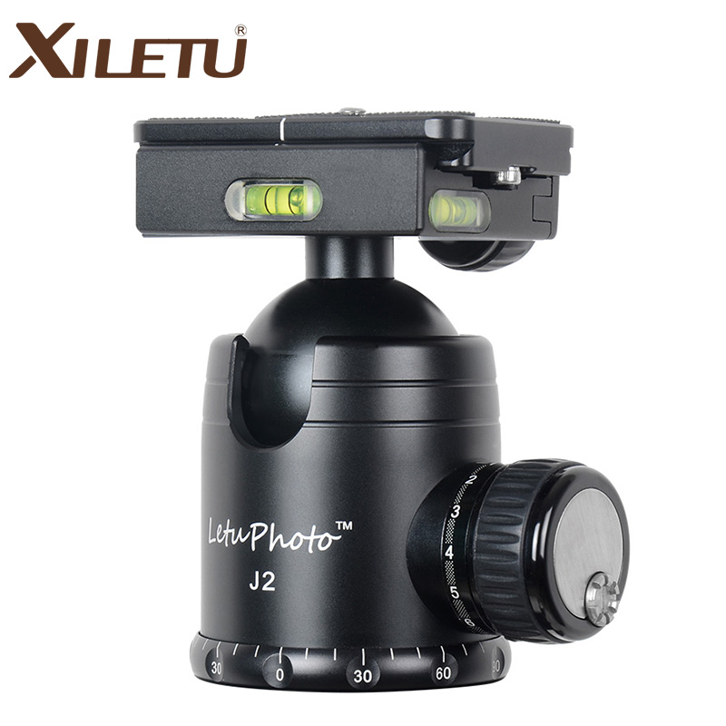 XILETU J2 360 Panoramic Panorama Ball head Clamp Aluminum Alloy Tripod Head with Quick Release Plate /Damping Tuning System