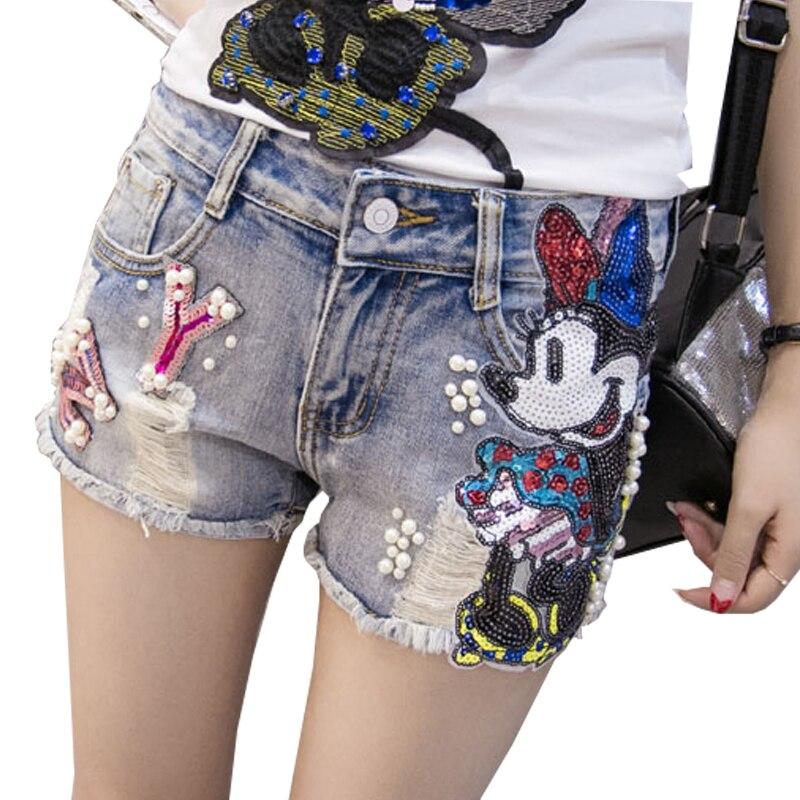 Station européenne 2019 été nouvelle industrie lourde euro paillettes Mickey Mouse dessin animé motif denim shorts pantalons chauds femmes