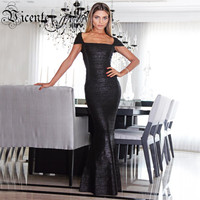 Free Shipping Elegant Fashion Square Neck Oil Print Embellished Gown HL Celebrity Maxi Long Bandage Dress