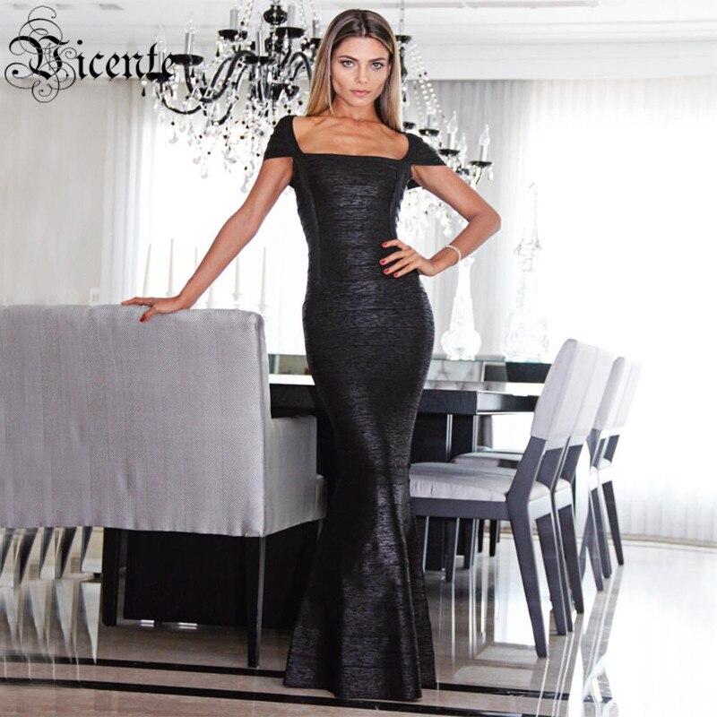 Vicente CHAUDE Élégant Fashion Square Neck Huile Imprimer Agrémentée Robe HL Celebrity Maxi Long Bandage Robe