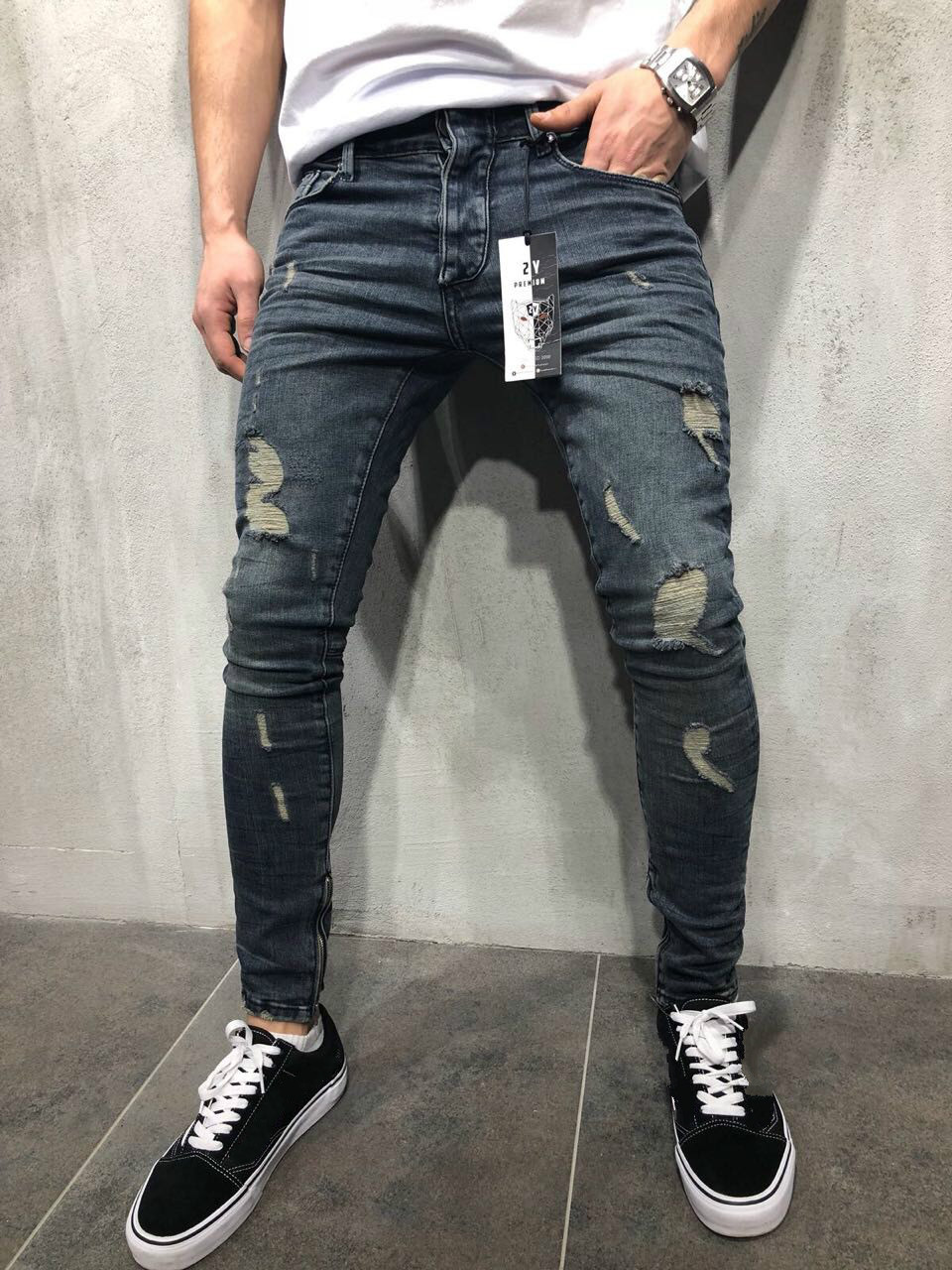 Jeans   Slim Spring Long Pencil Pants Ripped Hole 2018 Men's Fashion Thin Skinny   Jeans   for Men Hiphop Trousers Clothes Clothing