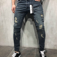 Jeans Slim Spring Long Pencil Pants Ripped Hole 2018 Men s Fashion Thin Skinny Jeans for