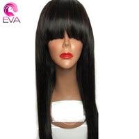 Eva Cheveux Full Lace Perruques de Cheveux Humains Avec Une Frange Droite Brésilienne Remy Cheveux Sans Colle Full Lace Perruque Pré Pincées Et Blanchis Noeuds