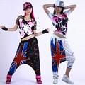 Women Dance Costume Hip Hop Casaul Print Flag Patchwork Starry  Harem Pants 2017 Hot High Quality