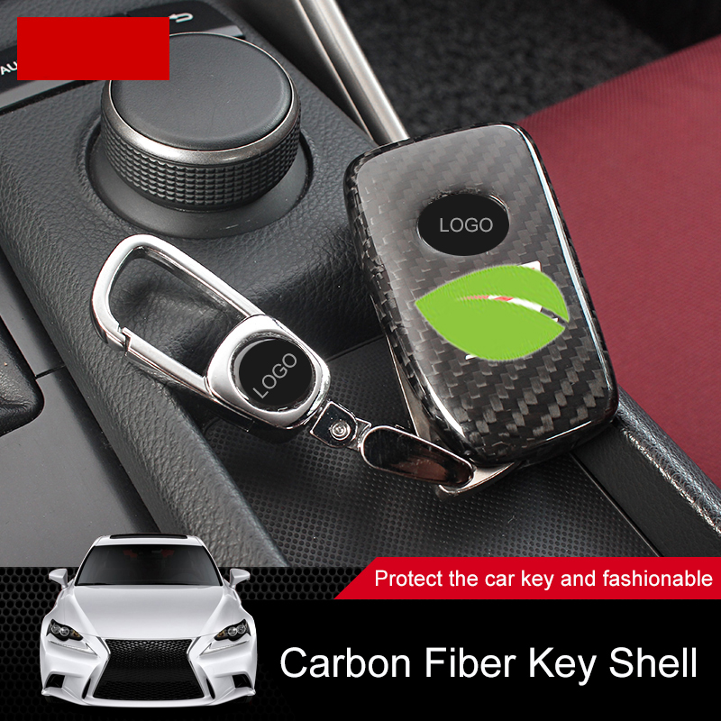 QHCP Carbon Fiber Car Remote Smart Key Case Key Shell Cover Decoration Protector For Lexus IS250 200T 300 Car-styling Accessory