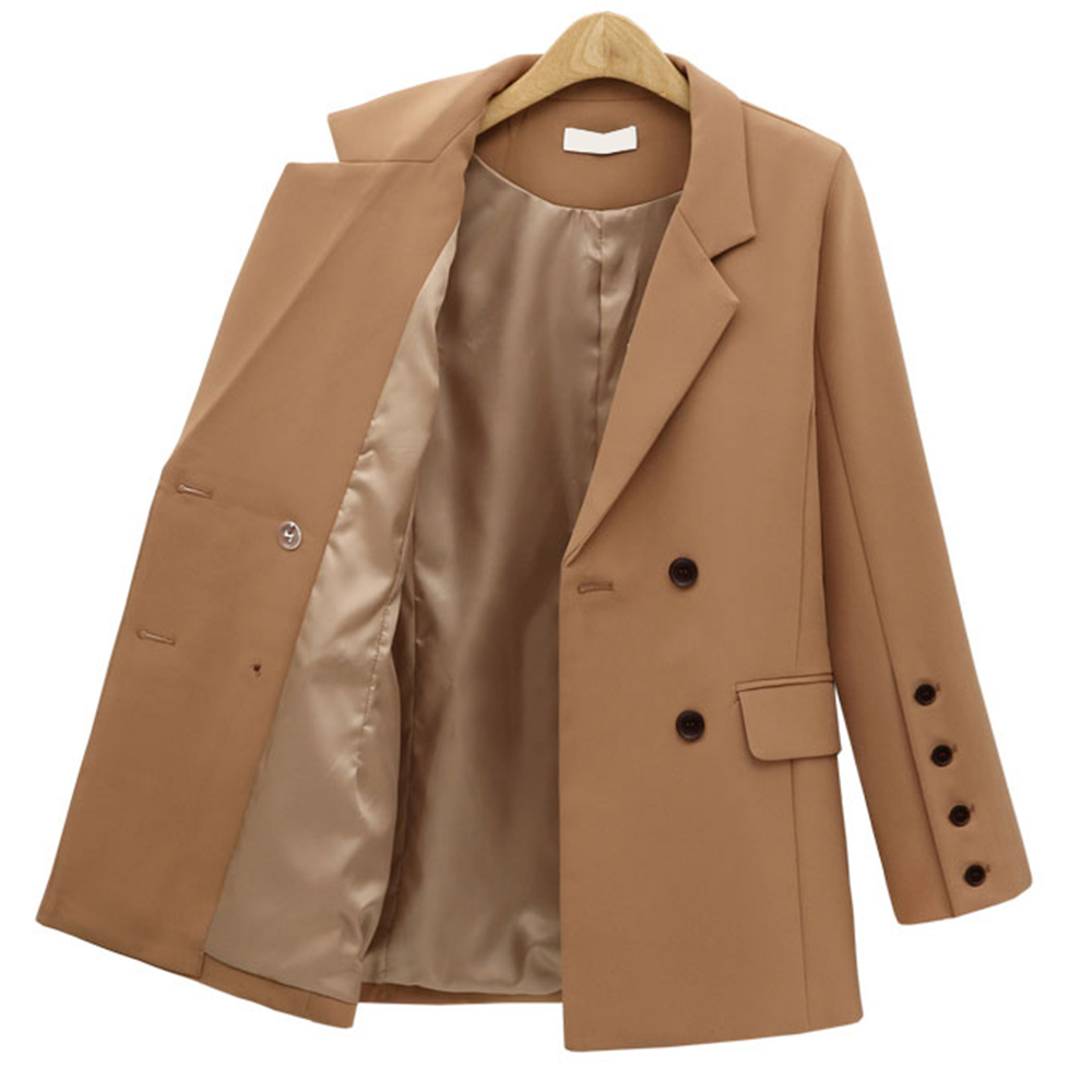 Women Blazers and Jackets Autumn Winter Womens Blazer Casual Long Sleeve Double Breasted Jackets Elegant Blazer Outerwear Black