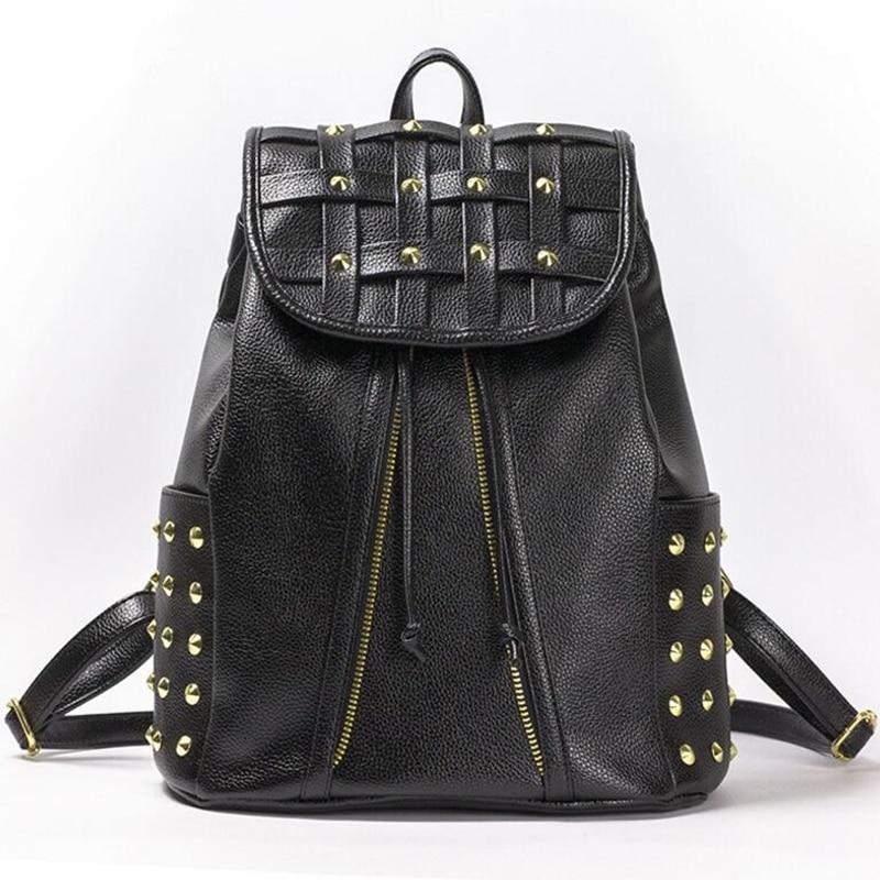 ФОТО Women Backpack PU Leather Drawstring Rivet Zipper Black White Fashion School Travel Women Back Pack Bolso Mujer Gugzak