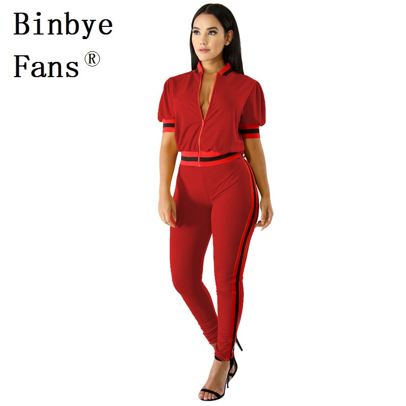 Binbye Fans Sweatsuits Short Sleeve Sexy Tops and Pants Sweat Suits Casual Tracksuit 2 Piece Outfits Two Piece Set CH427