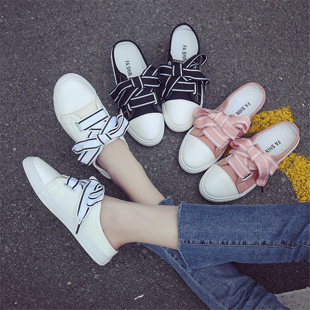 Canvas Shoes Pedals Heel Half-Slippers Slip-On Round-Toe Lace-Up Black Ladies Without