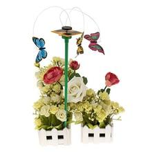 На солнечной энергии 3 шт Танцующая Летающая бабочка с палкой для садового двора растительного декора