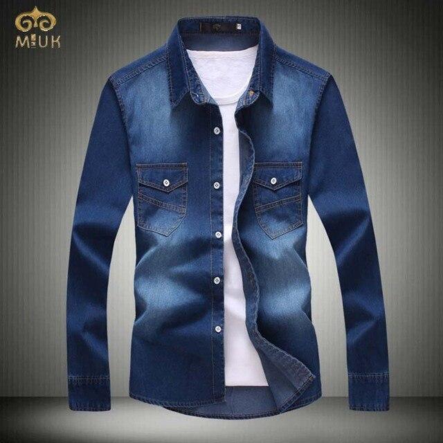45604cbb2 Miuk tamanho grande xxl xxxl slim fit marca camiseta masculina Denim Camisas  de Manga Longa Azul