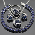 Dark Blue Created Sapphire Women Silver Color Jewelry Sets Necklace Pendant Bracelets Earrings Rings Christmas Gift Free Box