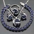 Escuro Azul Criado Sapphire Mulheres Conjuntos de Jóias de Cor Prata Colar Pingente Pulseiras Brincos Anéis de Natal Caixa de Presente Livre