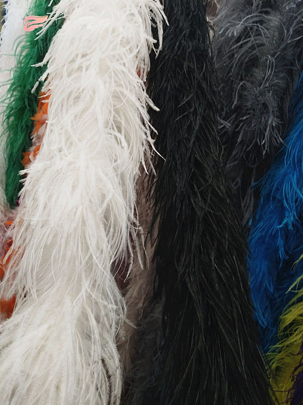 free shipping 2m long high quality 6-layer white ostrich feather boa for wedding carnival dress decorations / shawls / crafts