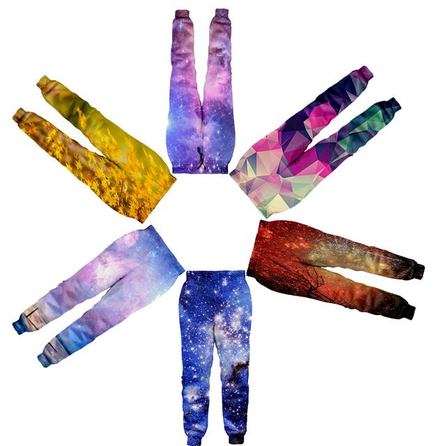 Alisister 2017 nueva moda para los hombres/mujeres baggy basculador pantalones de impresión 3d galaxy espacio pista pantalón hip hop pantalones dropship