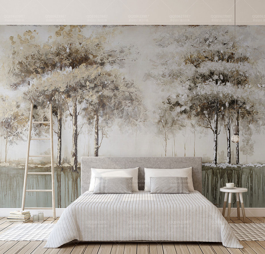 Paint Trees Reflectio Forest Wallpaper Mural 3d Wall Photo Mural for Bedroom Sofa Background 3d Forest Wall paper 3d Wall Murals new abstract hexagon geometry wallpaper murals 3d wall photo mural for living room sofa background 3d geometry wall paper murals