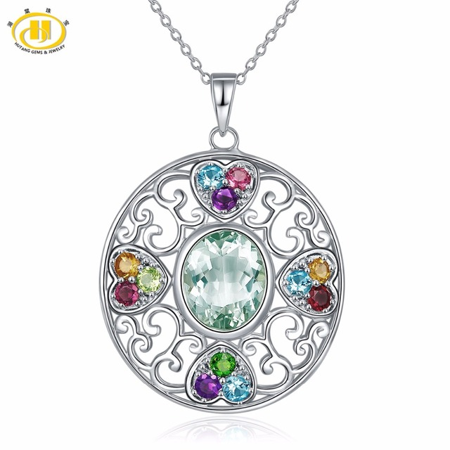 Hutang multi stone jewelry natural gemstone green amethyst garnet hutang multi stone jewelry natural gemstone green amethyst garnet solid 925 sterling silver pendant necklace fine aloadofball Image collections