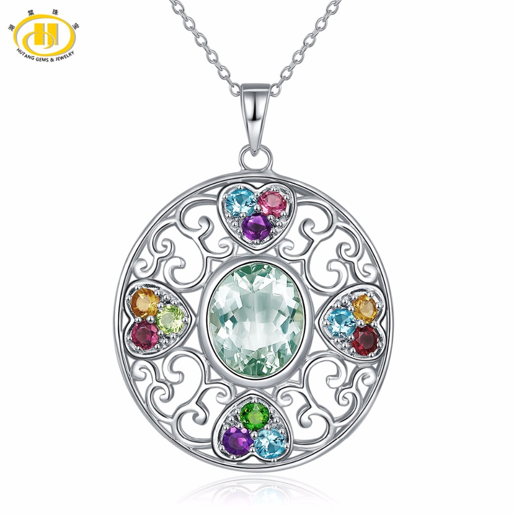 Hutang Multi Stone Jewelry Natural Gemstone Green Amethyst Garnet Solid 925 Sterling Silver Pendant Necklace Fine Jewelry Gift