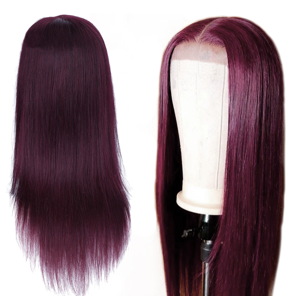Soph Queen 99J Brazlian Remy Straight Lace Front Human Hair Wigs For Black Women Ombre Human Hair Wigs 4*4 Lace Front Wig(China)