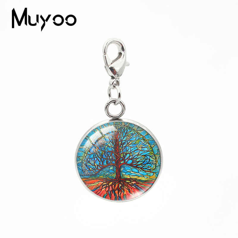 2019 New Abstract Painting Of Tree Of Life Round Charm Pendant Glass Cabochon Pendants Handmade Jewelry