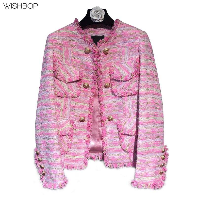 2017, Новая мода женские роскошные розовый текстурированная ткань tweeded куртка О образным вырезом с Ленточки золото на пуговицах спереди четыр