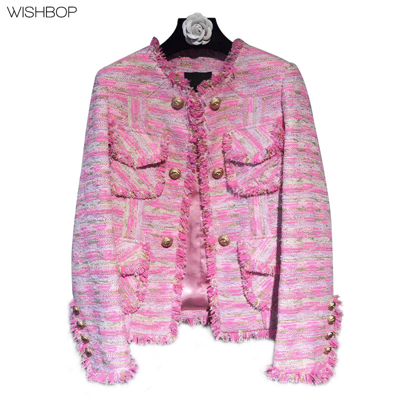 2017 New Fashion Woman Luxury Pink TEXTURED Weave Tweeded Jacket O-Neck with Tassels Gold Button up Front Four Pockets Detail