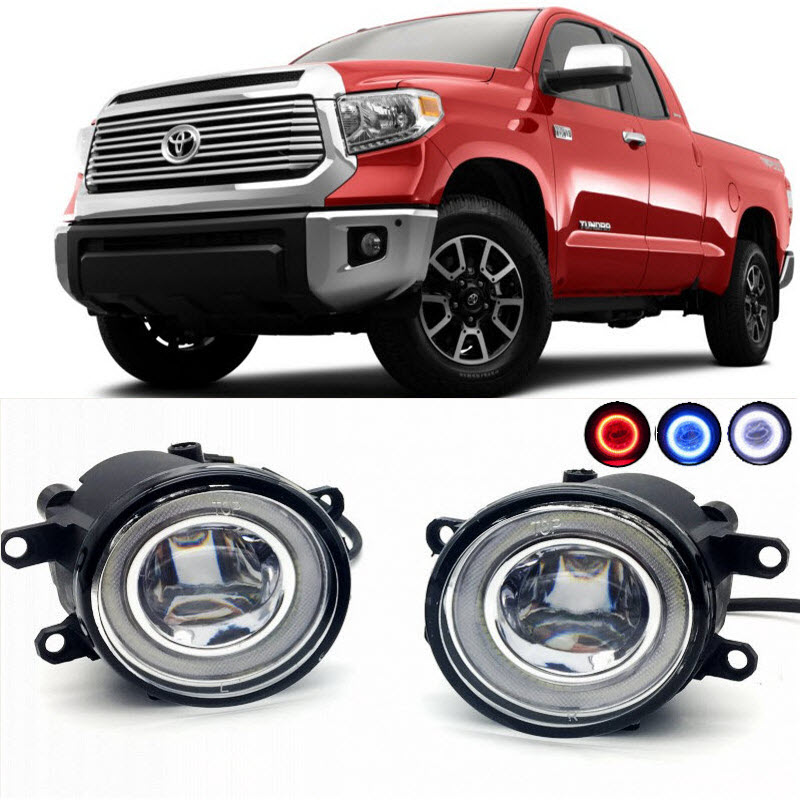 For Toyota Tundra 2014 2015 2016 2017 2 in 1 LED Cut-Line Lens Fog Lights Lamp 3 Colors Angel Eyes DRL Daytime Running Lights car styling 2 in 1 led angel eyes drl daytime running lights cut line lens fog lamp for land rover freelander lr2 2007 2014
