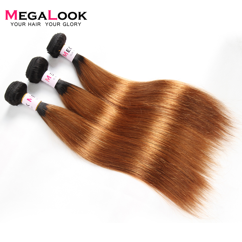 Megalook Brazilian Straight Hair Weave 3pcs Ombre Honey Blonde 1b30 Remy Human Hair Extension