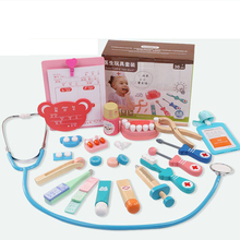 Medical Wooden Toy Pretend Play Doctor Toys Dentist Set Simulation Teeth Check Toy Cosplay Doctor Game for Children Kid Girl Boy
