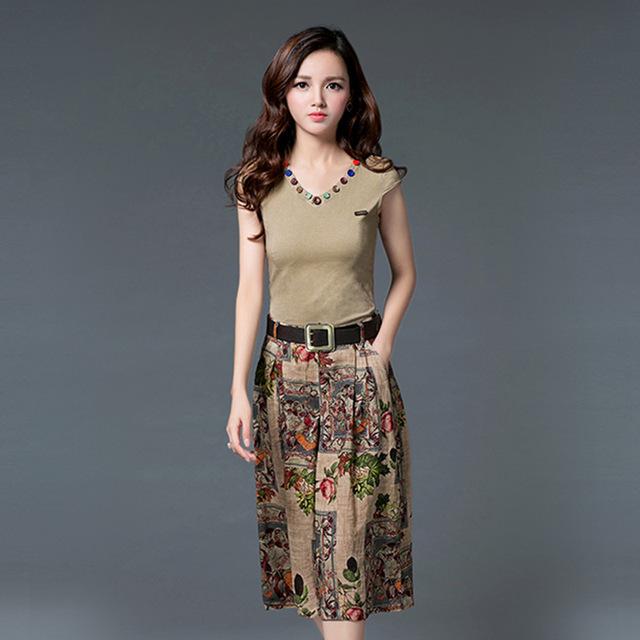 No verão de 2015 conjunto de sete tiro feminino ampla perna calças calças de algodão de duas peças terno das senhoras de impressão a cores