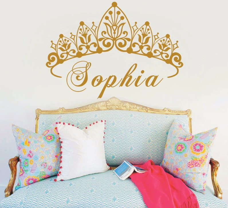 New Arrived Baby Girl Crown Vinyl Art Wall Sticker Princess Personalized Girls Name Art Bedroom Decorative Wall Decal Y-604