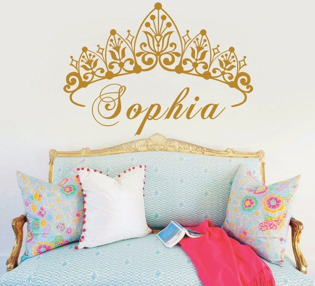 YOYOYU Baby Girl Crown Vinyl Art Wall Sticker Princess Personalized Nursery  Custom Girls Name Art Bedroom Part 61