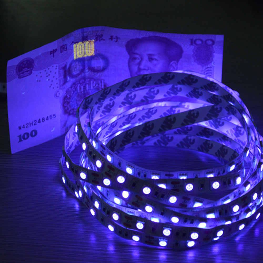 5 м 5050SMD Светодиодная лента УФ полоска 12 в не-водонепроницаемая Ультрафиолетовая лампа для денег флуоресцентный агент банковская карта Оформление заказа
