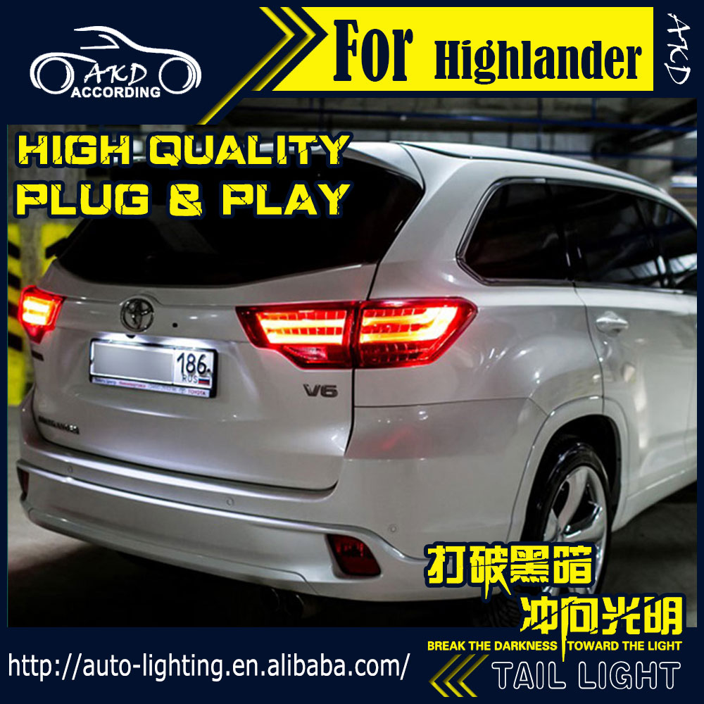 AKD Car Styling Tail Lamp for Toyota Highlander Tail Lights 2015-2016 LED Tail Light Signal LED DRL Stop Rear Lamp Accessories high quality car styling 35w led car tail light for toyota highlander 2015 tail lamp drl signal brake reverse lamp