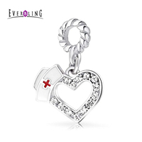 Everbling Jewelry Crystal Nurse Hat Heart Dangle 925 Sterling Silver Charm Beads Fits European Pandora Charms