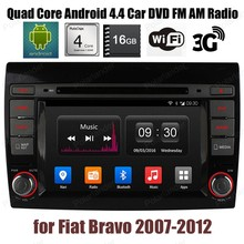 Android4.4 Car DVD CD stereo FM AM radio 16G ROM Support DTV GPS BT 3G WiFi DAB+ TPMS For F/iat B/ravo 2007-2012