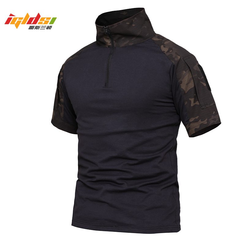 Summer Camouflage Army Combat Shirt Men US Force Military Tactical   Polo   Shirts Airsoft Camo Short Sleeve   Polo   Shirt