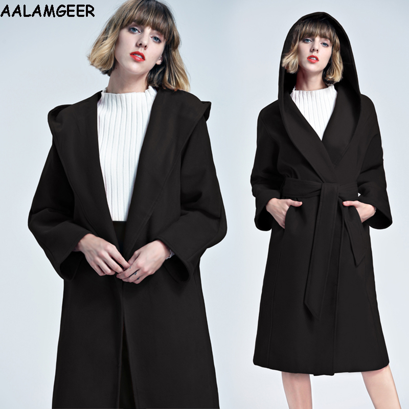 aalamgeer fashion women blend hooded coat 2017 manteau femme hiver winter warm woolen long black