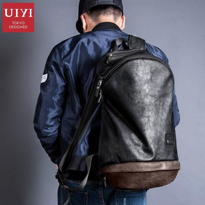 UIYI fashion Men PU leather Backpack black Travel Bags Classic Male laptop Backbag For girls boy school bag #UYB16025