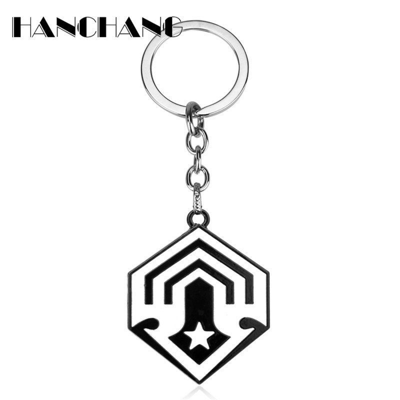 Personalized Jewelry game War theme Halo 5 keychains Spartan black logo Mark Metal key holer chain Souvenir Gifts for Fans
