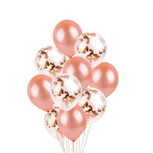 12inch 10pcs Rose Gold Mixed Champagne Confetti Balloons Wedding Party Decoration Happy Birthday Ballon Decor Sets