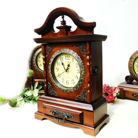 Household Antique Wooden Clock with Key Storage Drawer Classical Retro Clocks Figurines Home Office Needle Clock Desktop Crafts