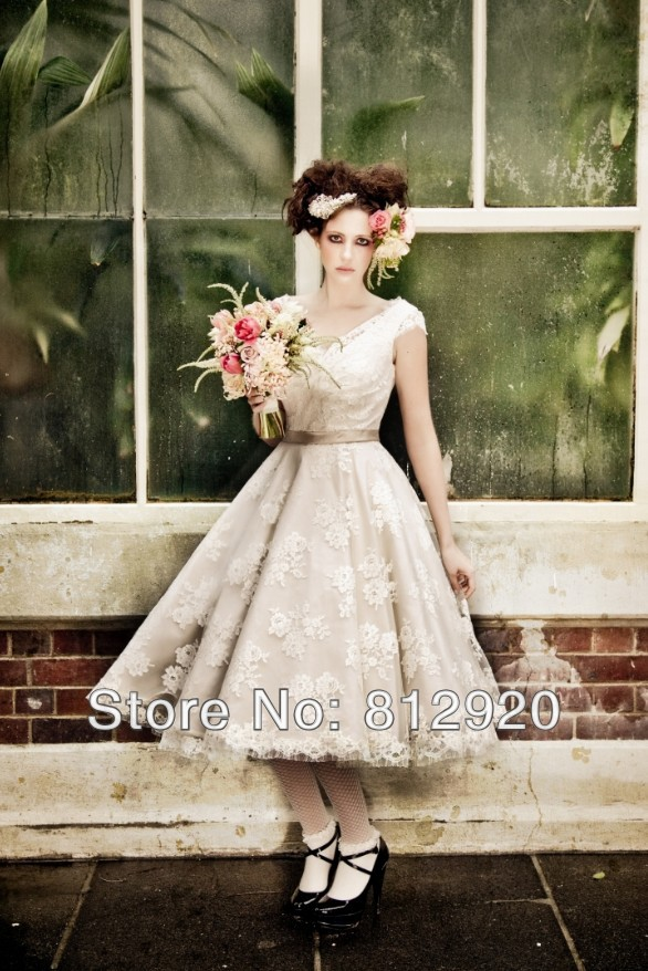 Popular Casual Tea Length Wedding Dresses-Buy Cheap Casual Tea ...