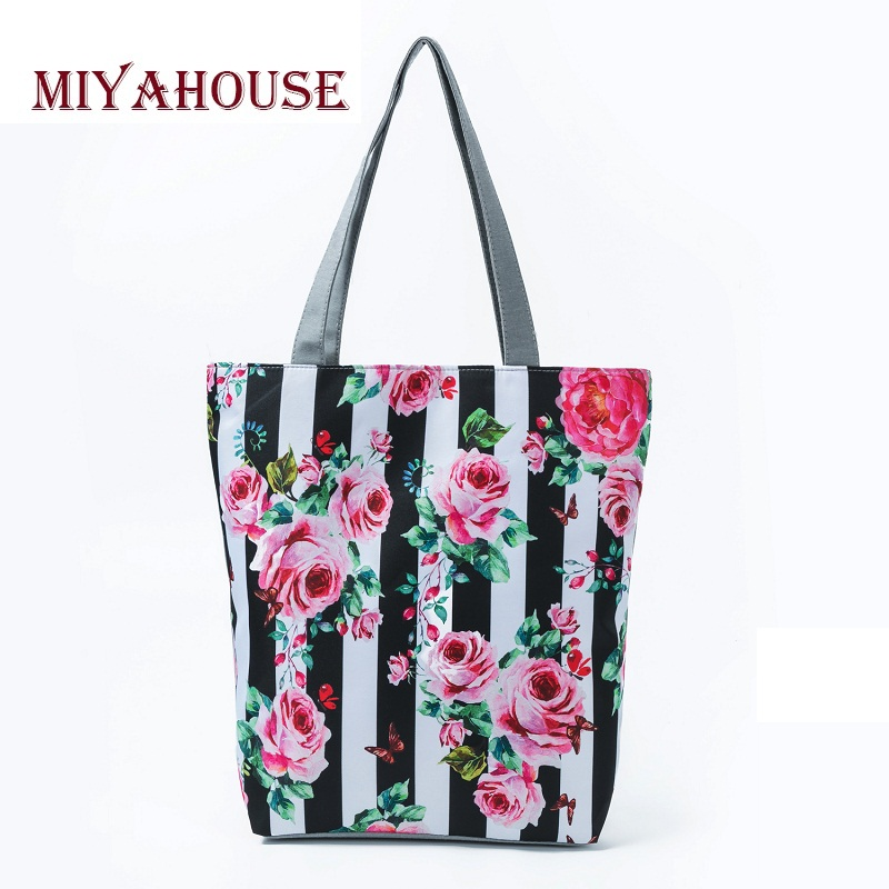 Miyahouse Trendy Pink Rose Design Canvas Beach Bags For Female Floral And Striped Print Shoulder Shopping Handbags High Capacity