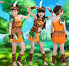 Free Shipping Kids American Indian Costumes Savage Caveman African Tribal Carnival Cosplay Clothes For Children Boys
